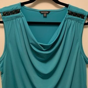 George Teal Tank w/Black Faux Leather at Shoulders